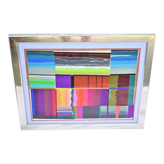 Vintage 1977 Contemporary Framed Collage by Paul Dufour For Sale