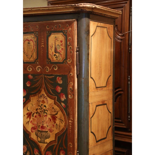 Early 19th Century French Pine Two-Door Painted Armoire From Alsace-Lorraine For Sale - Image 11 of 13
