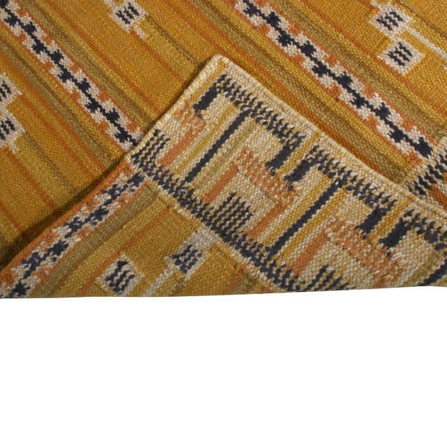 2020s Rug & Kilim's Scandinavian Style Striped Gold and Black Wool Kilim Runner For Sale - Image 5 of 6