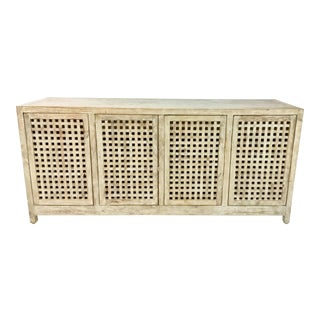 Studio a Transitional White Washed Driftwood Lattice Credenza For Sale