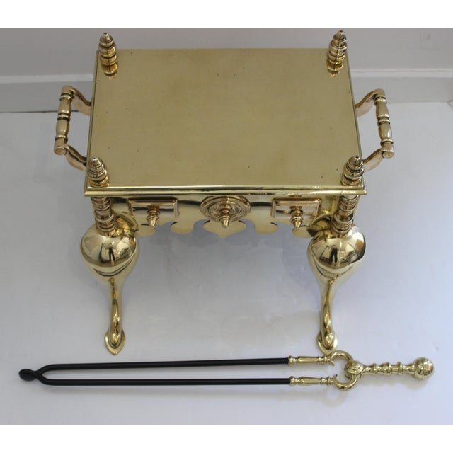 19c Fireplace Accesories - Brass Tea Kettle Heater With Its Log Tool For Sale - Image 12 of 13