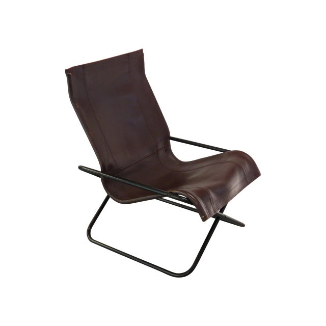 Vintage MCM Uchida Leather Sling Chair For Sale