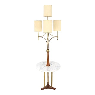 Mid Century Modern Walnut Brass Floor Lamp On Round Marble Side Table For Sale