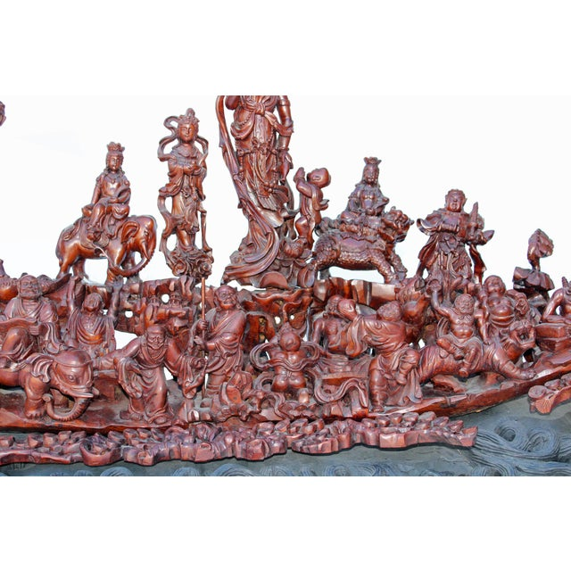Brown Heavenly Gathering Statue 18 Arhat Inviting Guanyin Bodhisattva for Wisdoms Lecture For Sale - Image 8 of 13