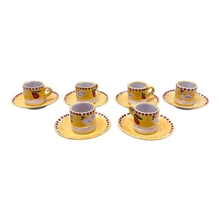 Vietri Solimene Campagna Espresso Demitasse Cups & Saucers - Set of 6 For Sale