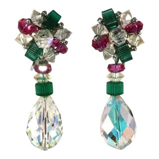 Vendome Necklace Earrings Set Pink and Green Crystal Bead Vintage 1960s Demi Parurue For Sale