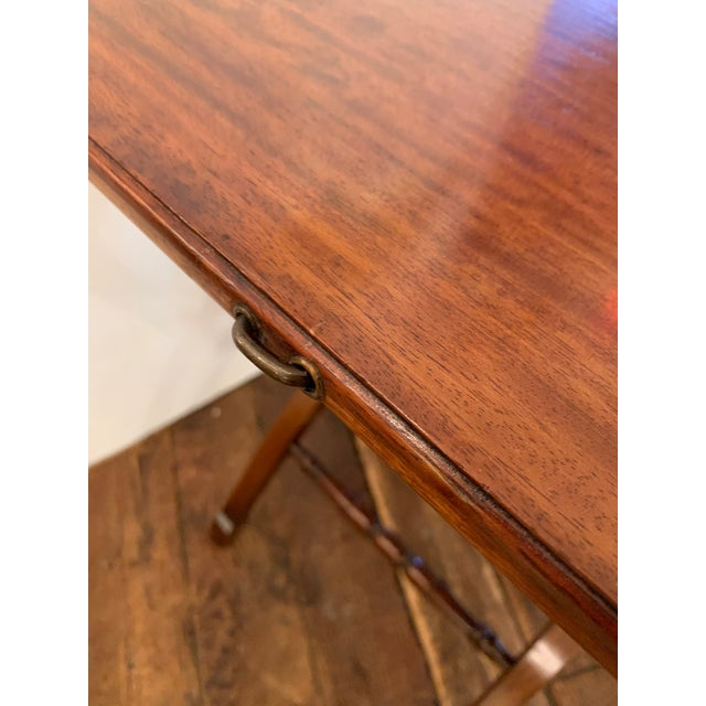 Versatile Campaign Style Mahogany Side or Dining Table For Sale - Image 10 of 13