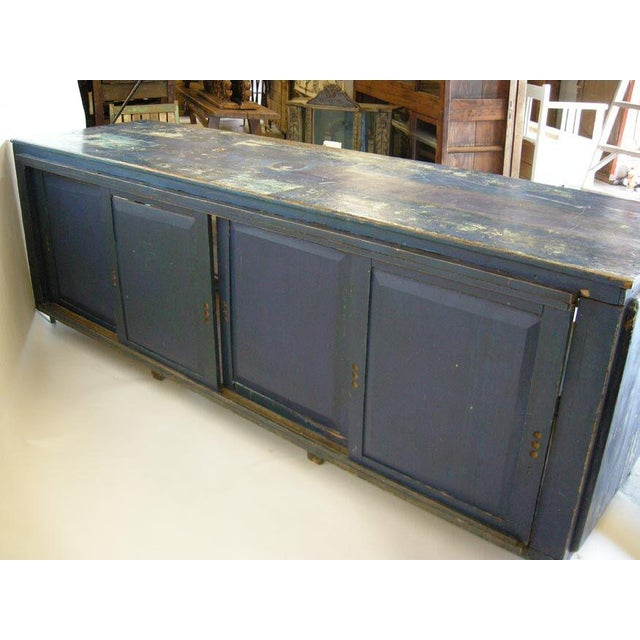 Antique Painted Blue Shop Counter With Glass Front For Merchandise Display For Sale - Image 4 of 11