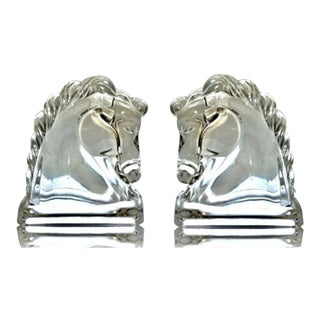 Vintage Glass Figural Horse Head Book Ends - a Pair For Sale