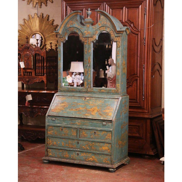 18th Century Italian Hand Painted Secretary Bookcase With Chinoiserie Decor For Sale - Image 12 of 12