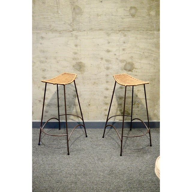 Metal 1960s Vintage Arther Umanoff Style Wicker & Iron Stools- A Pair For Sale - Image 7 of 9