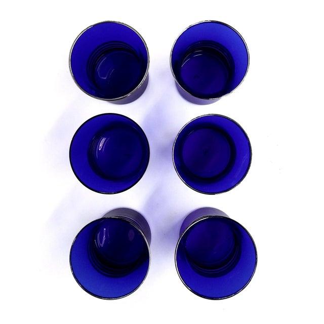 Cobalt Blue Shot/Juice Glasses W Silver Trim - S/6 - Image 7 of 9