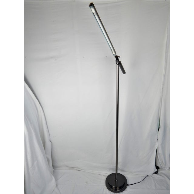 Brushed Chrome Fluorescent Floor Lamp For Sale - Image 4 of 11