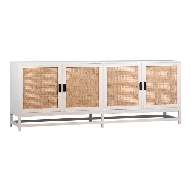 Modern White Cane Sideboard For Sale