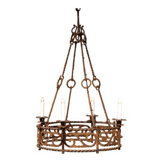 19th Century French Four-Light Gothic Rusty Wrought Iron Round Chandelier