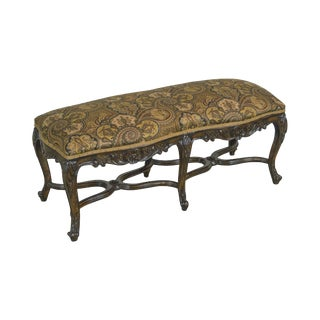 French Louis XV Style Carved Walnut Window Bench For Sale