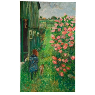 """Grace B. Keogh """"Girl Walking Dog"""" Large Painting For Sale"""