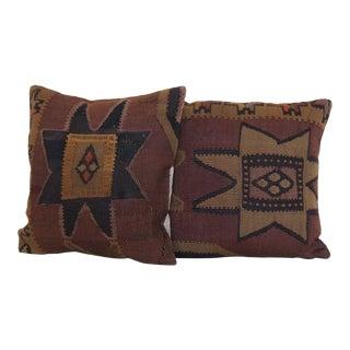 Antique Anatolian Kilim Rug Pillows - a Pair