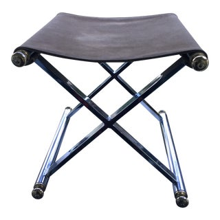 1970s Vintage Polished Chrome and Solid Brass Sling Seat Stool For Sale