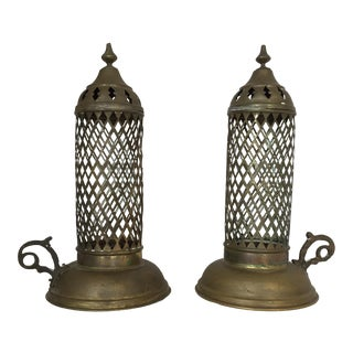 Vintage Brass Moroccan Lanterns - a Pair For Sale