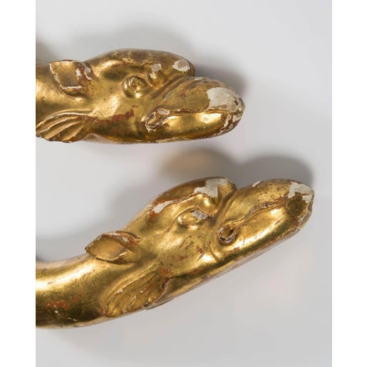 18th Century Gold Leaf Dolphin Shaped Ornaments - a Pair For Sale - Image 4 of 11