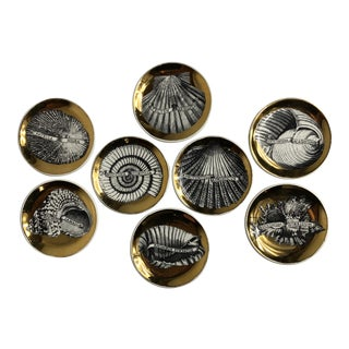 """Conchyliorum"" Gilt Porcelain Coasters by Piero Fornasetti - Set of 8 For Sale"