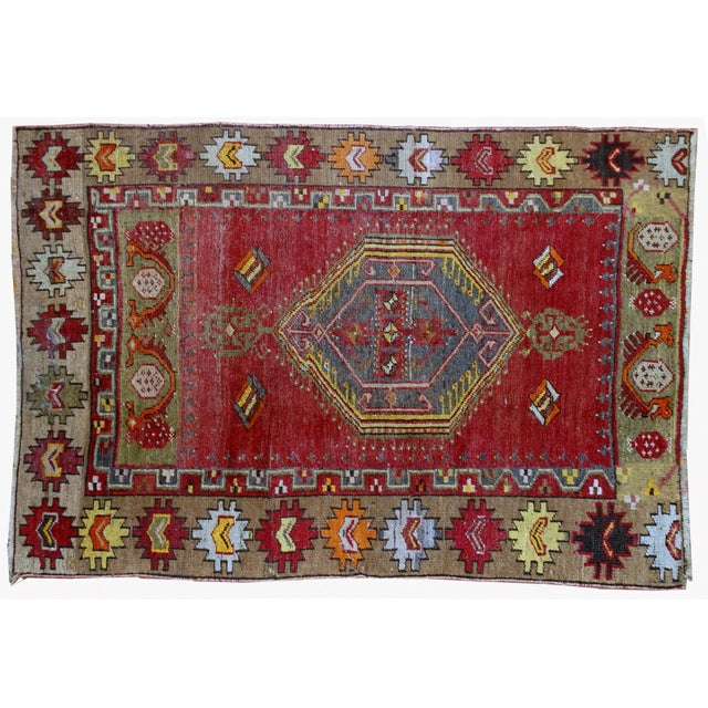 1920s Antique Turkish Anatolian Hand Made Rug - 3′1″ × 4′7″ - Image 7 of 7