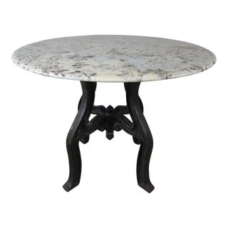 Marble Table on Black Iron Base For Sale