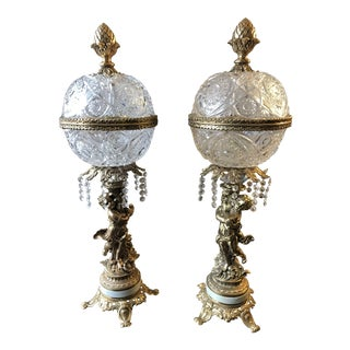 1950's Brass Cherub Crystal Globe Lamps - a Pair For Sale