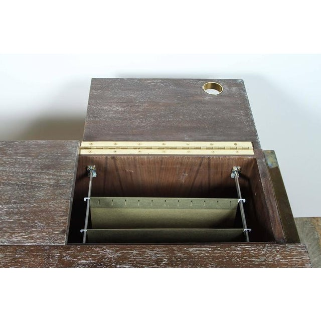 Customizable Paul Marra Writing File Desk in Ceruse Walnut Finish For Sale In Los Angeles - Image 6 of 10