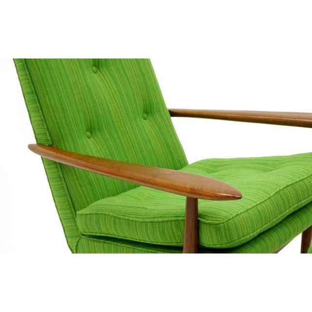 Cherry Wood Rare George Nakashima for Widdicomb High Back Lounge Chair and Ottoman For Sale - Image 7 of 11