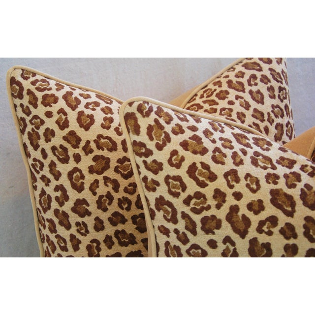 "Leopard Safari Velvet Feather/Down Pillows 24"" Square - Pair For Sale In Los Angeles - Image 6 of 9"