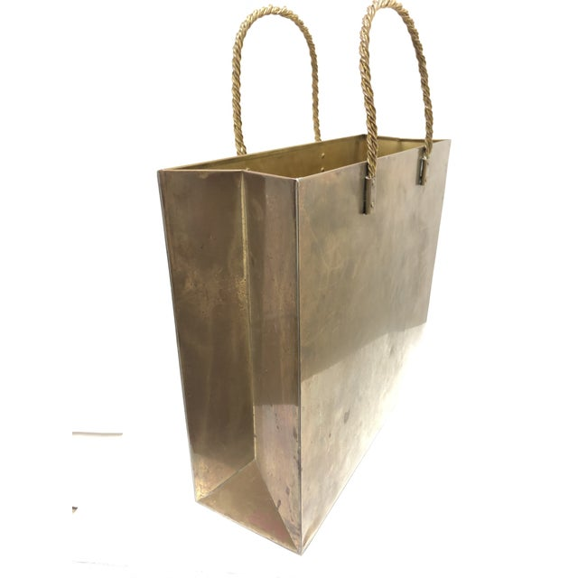 1970s Vintage Brass Shopping Bag Magazine Rack For Sale - Image 5 of 8