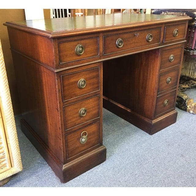 Campaign Antique Mahogany Partner Desk For Sale - Image 3 of 7 - Antique Mahogany Partner Desk Chairish