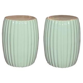 Mint Ceramic Chrysanthemum Stool For Sale