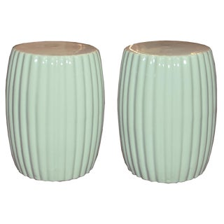 Pair of Mint Ceramic Chrysanthemum Stools For Sale