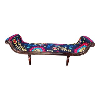 Bohemian Embroidered Chaise For Sale