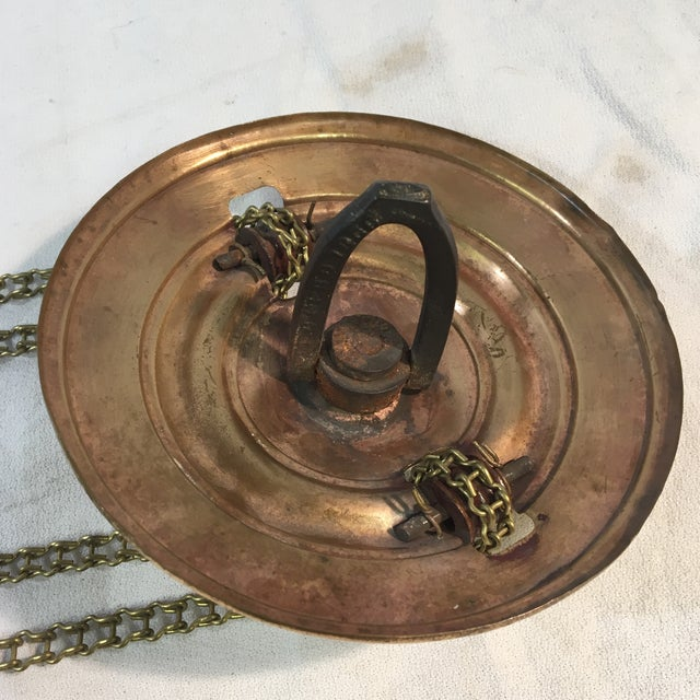 Metal Antique Late 19th Century Victorian Moroccan Hanging Brass Amber Glass Lantern For Sale - Image 7 of 11