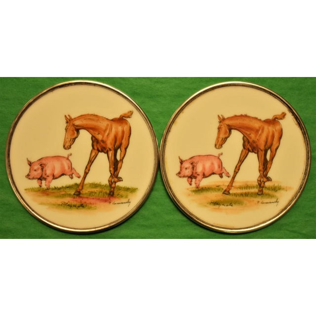 Abercrombie & Fitch Hand Painted Equestrian Sterling Silver Coasters - Set of 5 - Image 5 of 11