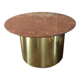 1970s Regency Brass Drum Side or Coffee Table With Italian Marble Round Top For Sale