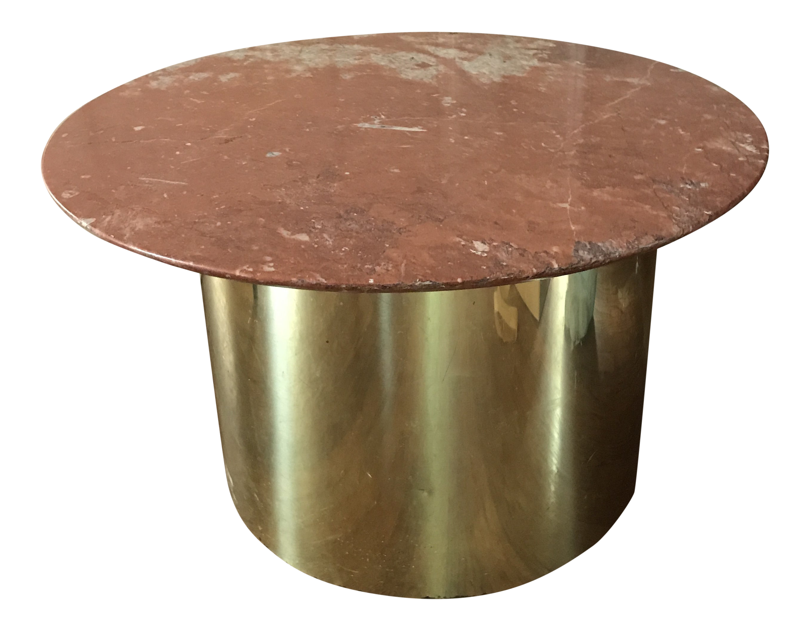 1970s Regency Brass Drum Side Or Coffee Table With Italian Marble Round Top