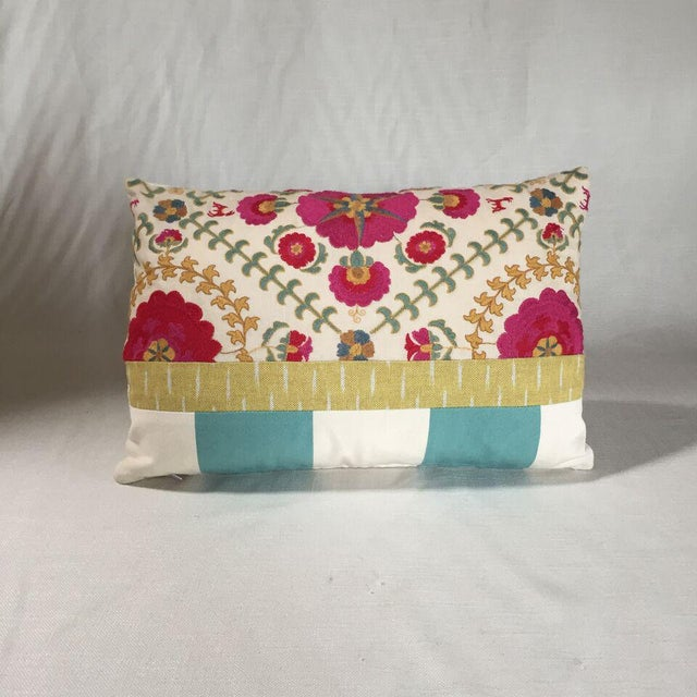 Boho Chic Kim Salmela Embroidered Floral Patchwork Pillow For Sale - Image 3 of 3