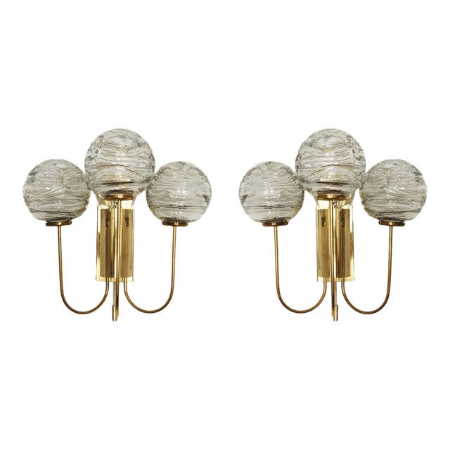Set of 2 Mid-Century Modern Brass and Ice Glass Wall Sconces by Doria For Sale