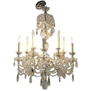 Georgian Style Ten Light Cut Crystal Chandelier For Sale