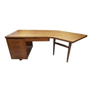 Vintage Mid-Century Modern Walnut Boomerang Desk For Sale