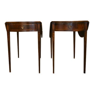 Antique Pembroke Mahogany Drop Leaf Brass Drawer End Tables - a Pair For Sale