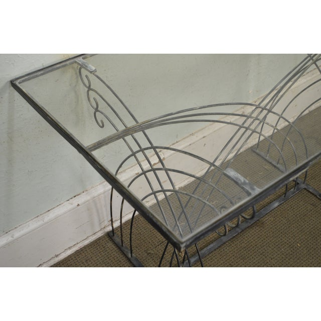 Art Deco Vintage Studio Wrought Iron Glass Top Patio Console Table For Sale - Image 12 of 13