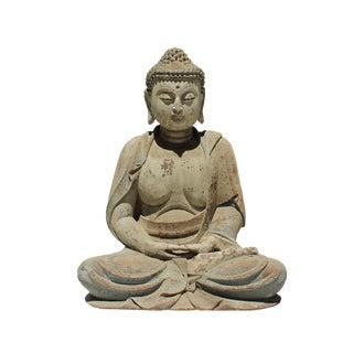 Large Chinese Rustic Distressed Finish Wood Buddha Statue