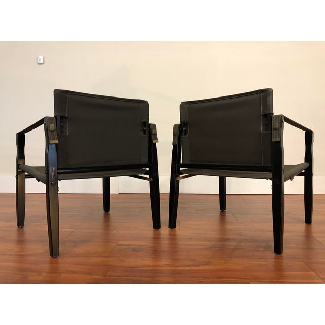 Mid 20th Century Vintage Gold Medal Safari Chairs -Wood and Canvas - a Pair For Sale - Image 5 of 13
