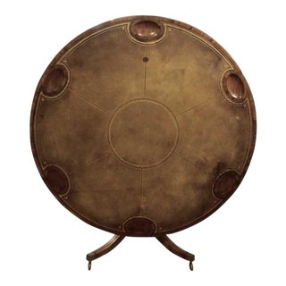 19th English Leather Tilt-Top Games Table For Sale